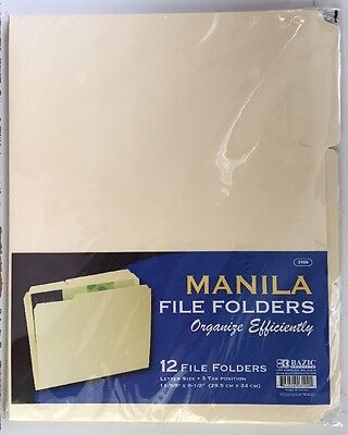 12pc Manila File Folder Letter Size Three Tab Positions 11-58 X 9-12 Folder
