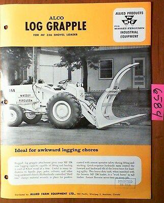 Alco Allied Log Grapple For Massey Ferguson Mf 356 Shovel Loader Brochure Manual