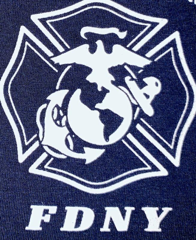 FDNY Fire Department New York T-Shirt Sz L FDNY WTC 9/11 USMC