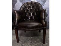 Stunning Chesterfield Refurbished Tub Chair in Brown Leather 2 Available - UK Delivery