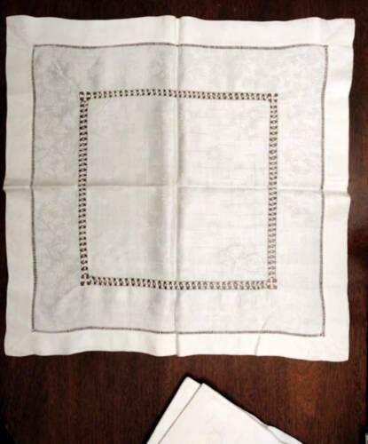 Set of 6 Antique Linen Damask Ivory Napkins Drawn Thread Embroidery Hemstitching