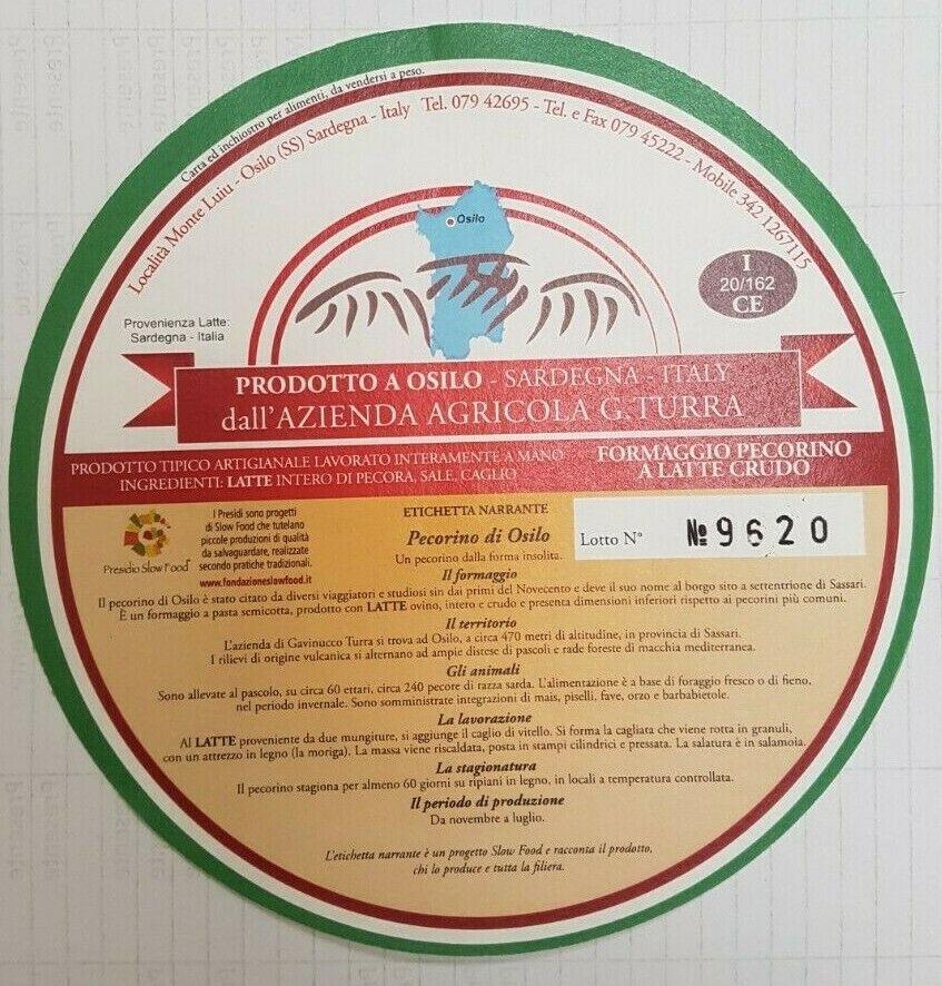 Prodotti tipici Sardo - Formaggio Pecorino forma Peso kg 2