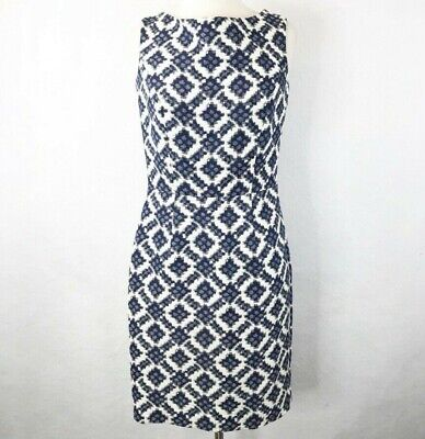 Hoss Intropia Womens 36 SZ 4 Blue Azul Estamp Sheath Dress Sleeveless Polyester