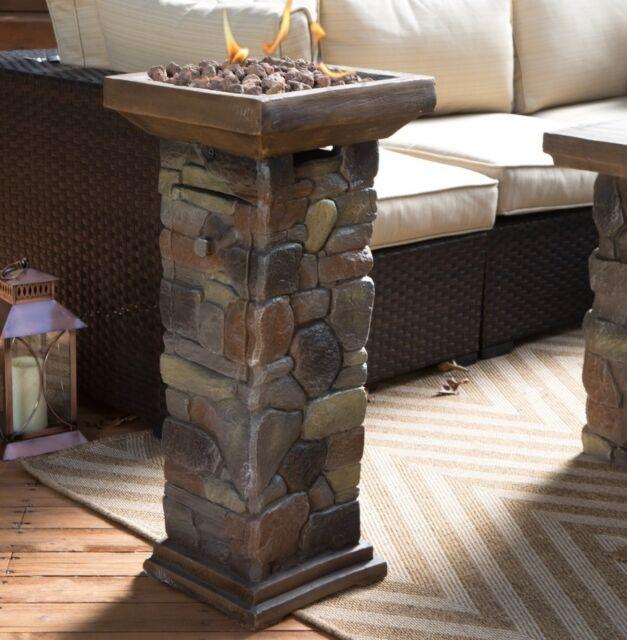 outdoor propane fire pit column gas burner patio porch balcony heater fireplace