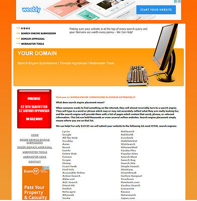 Search Engine Submission   Domain Name Appraisal Software Website For Sale