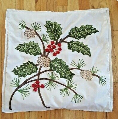 "POTTERY BARN HOLLY BERRY PILLOW COVER CHRISTMAS 20X20"" USED"
