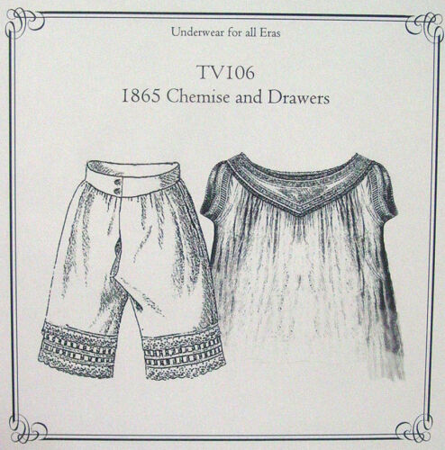 Sewing Pattern for Victorian Edwardian Era Drawers Bloomers Chemise TV106