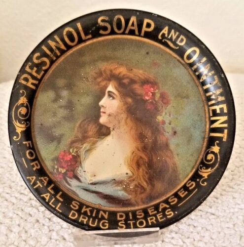Resinol Soap And Ointment Antique Metal Tip Tray