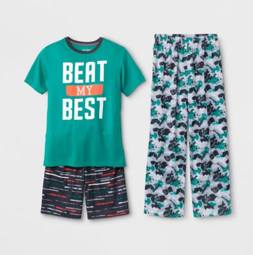 "New Cat & Jack Boys ""Beat My Best"" Sport Pajama 3pc Set - Green [Size M 8/10]"