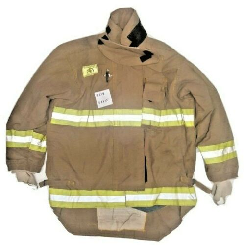 48x35 Morning Pride Firefighter Brown Turnout Jacket Coat with Yellow Tape J859