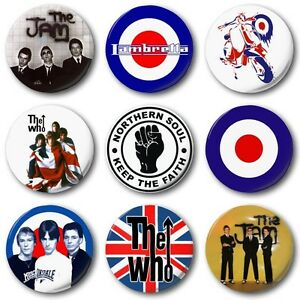 MOD-BADGES-Various-Designs-1-25mm-Button-Badge-Jam-Who-Weller-Scooter