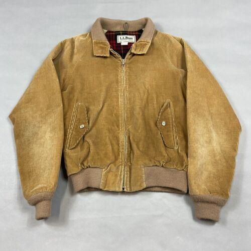 Vintage LL Bean Corduroy Plaid Flannel Lined Harrington Bomber Jacket sz 38