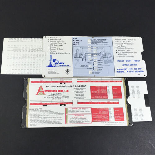 Set of 2 Vintage Slide Rules API Flange & Drill Pipe and Tool Joint Selector