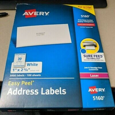 Avery Easy Peel Address Labels 1 X 2.63 White - 3000 Count