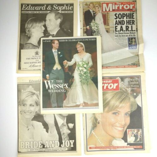 Lot of 5 Edward & Sophie Royal Wedding Newspaper The Mirror June 19th-21st 1999