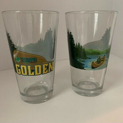 Terrapin Beer Company Golden full wrap pint glass, 16 oz. Set of 2, NEW Beer Pint Glass Set