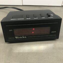 Vintage Small Travel Westclox Alarm Clock Digital Red LCD Display Model No 66702