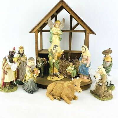 Vintage The Nativity 11 Pc Set CrecheHand Painted Porcelain 1993 Stable