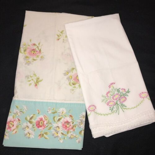 Vintage Pillowcases Standard Lot of 2 Embroidered Flowers Cottage Floral Print