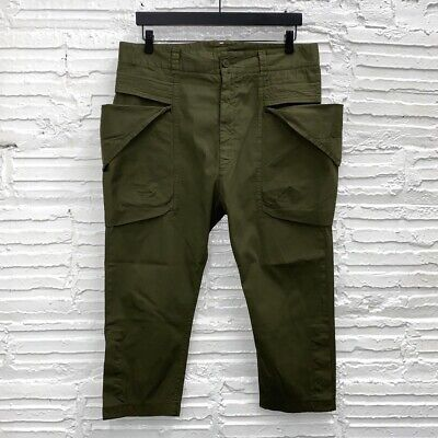 Alexandre Plokhov Olive Drab Canvas Low Crotch Cropped Utility Pants It50, US34