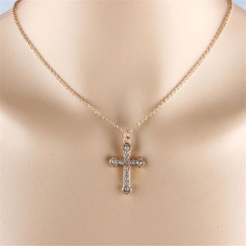 "Women's Gold Plated Simple Cubic CZ Cross Pendant Necklace 18 "" N58 Fashion Jewelry"