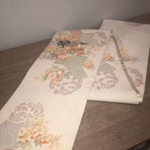 """Vintage Mid Century Japanese Obi or Banquet Table Runner 12""""x154"""" Peach Floral"""