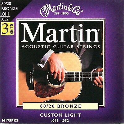 3 Sets / Packs Martin Bronze Acoustic Guitar Strings Custom Light 11 - 52