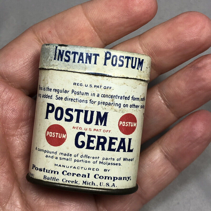 1910s POSTUM CEREAL SAMPLE TIN Antique Advertising Cereal Country Store