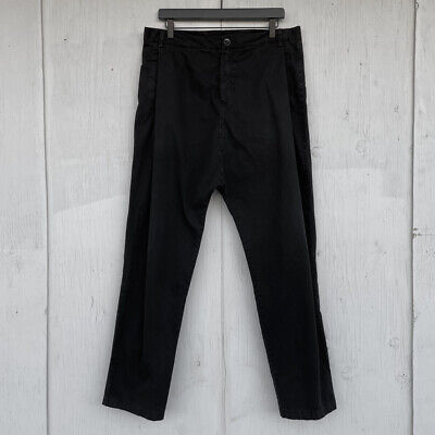 Silent Damir Doma Black Low Crotch Cotton Twill Chinos Men's Large