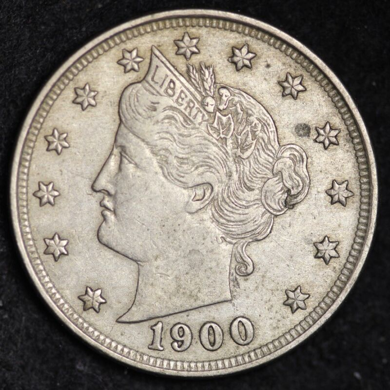 1900 Liberty V Nickel CHOICE AU FREE SHIPPING E255 WET