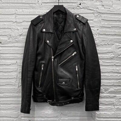 BLK DNM Leather Jacket 5 Black Moto Biker Jacket Men's Small
