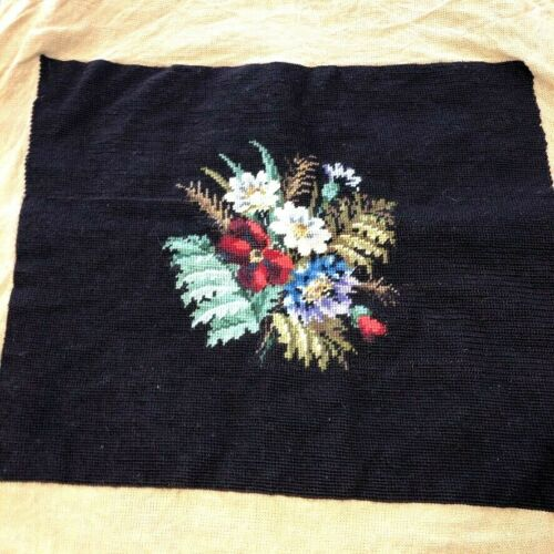 """Vtg Handcrafted Finished Needlepoint Canvas 19""""x15"""" Dark Brown Floral Bouquet"""