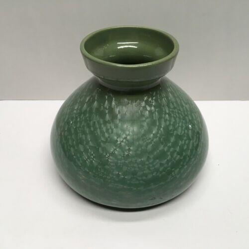 "Sarreguemines ETNA Green Crystalline 4 7/8"" Vase,  French Art Nouveau, c1910"
