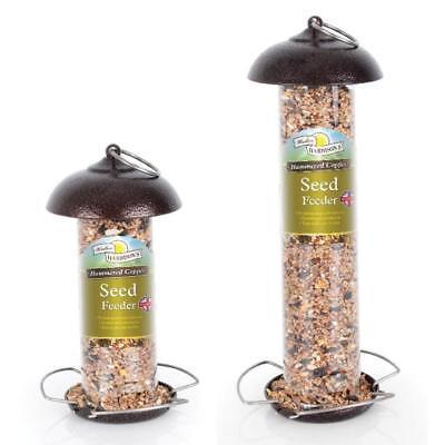 Harrisons HAMMERTONE COPPER SEED FEEDER Metal Mini Wild Bird Mix Tube Dish - Mini Tube Feeder