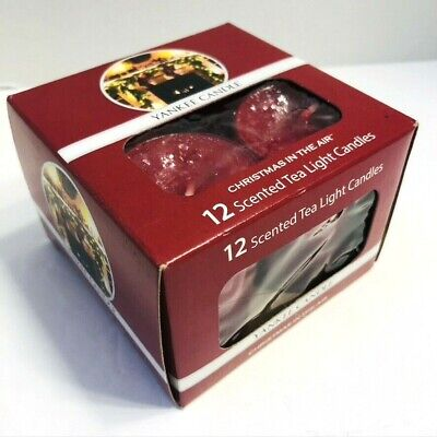 New Yankee Candle rare Christmas In The Air Box Set of 12 Tea Light Candles