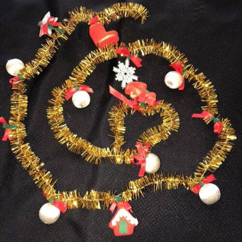 """Vintage Mid Century Christmas Garland Gold Tinsel 64""""L with Red Felt Ornaments"""