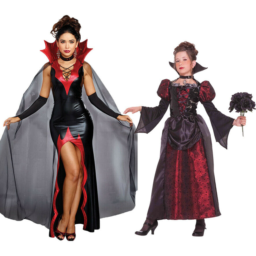 Adult Woman Vampire Costume Outfit Kids Girls Halloween Fancy Dress Witch Scary