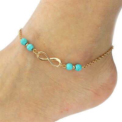 Fashion Jewelry 925 Silver Or Gold Plated Infinity Turquoise Beaded Anklet 16-5 ()