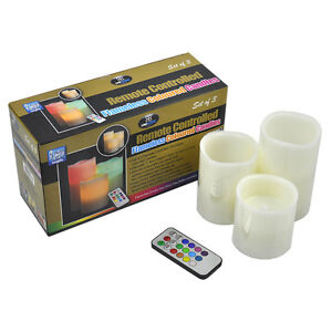 3 Colour Changing Wax Flameless Candles Remote Control Vanilla Scent Mood Light