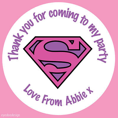 Superwoman Party Supplies (70 x Personalised Superwoman Pink Hen Night Birthday Party Bag Stickers)