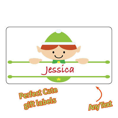Personalised Christmas Stickers Labels name cute tags Cute Elf Gifts - 1114](Halloween Name Labels)