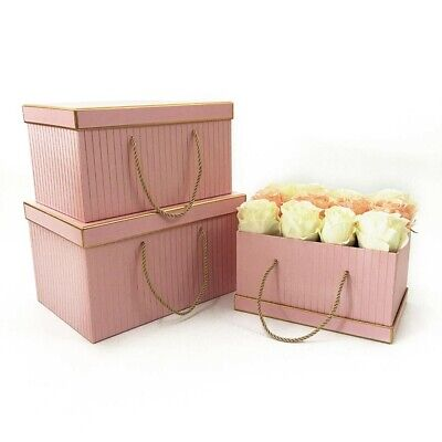 Set of 3 Pink with GoldenGrids Rectangular Florist Packing Gift Flower Box Paper ()