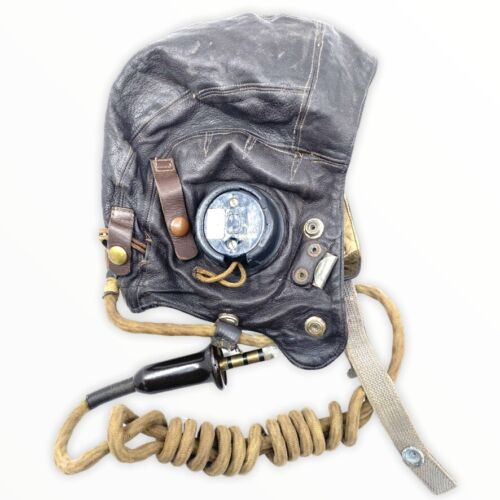 WW2 British RAF Type C Helmet Externally Wired Pilots Type Helmet