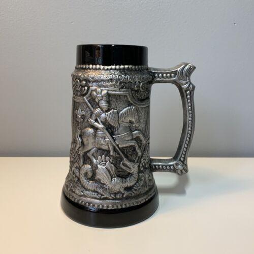 """Vintage Medieval Knight & Dragon 8"""" Beer Stein Metal Ceramic 40 oz."""