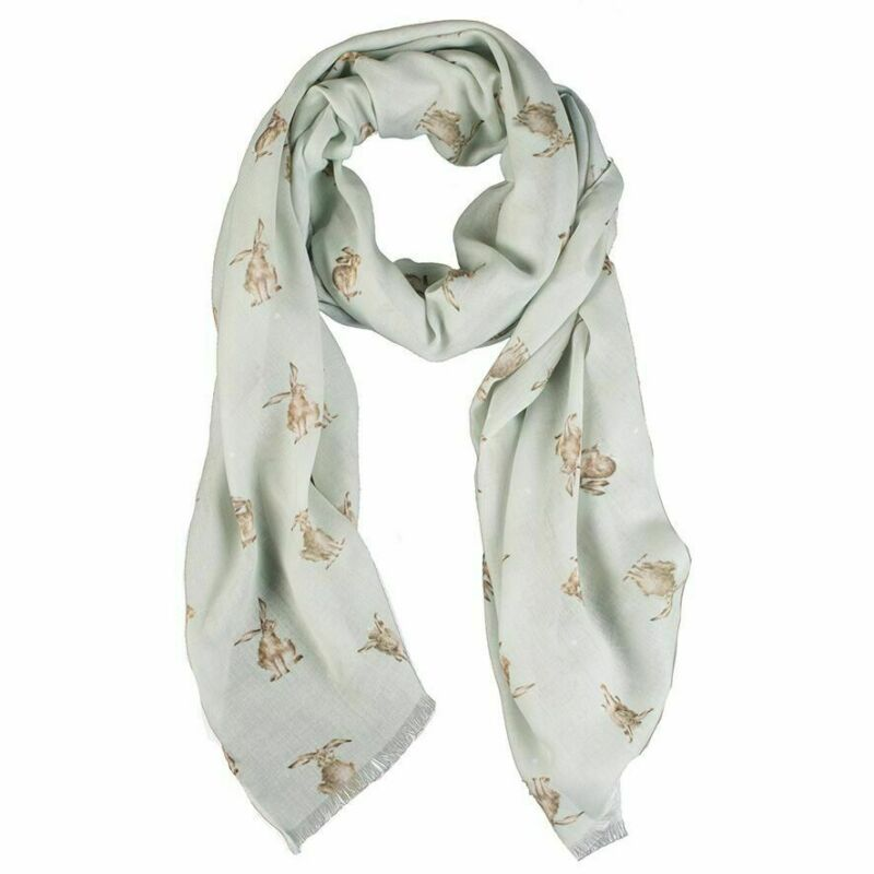 Wrendale Designs Leaping Hare Design Scarf with Gift Bag - Gift Idea for Women