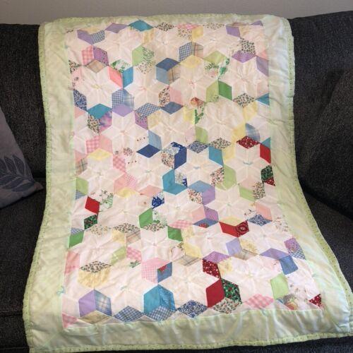 "Vintage Handmade Patchwork Lap Quilt White Stars Hexagon Pattern 34""x49"" Cottage"