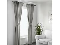 BRAND NEW, NOT USED, INGERT IKEA GREY Curtains with tie-backs, 2 pairs