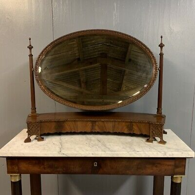 Antique large concave dressing table mirror with oval mirror
