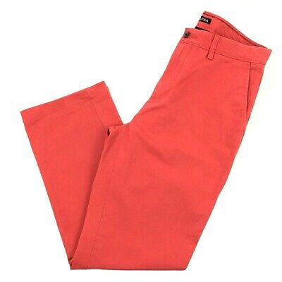 Nautica True Khaki Pants Men 32 x 34 Red Solid Flat Front Straight Cotton Casual