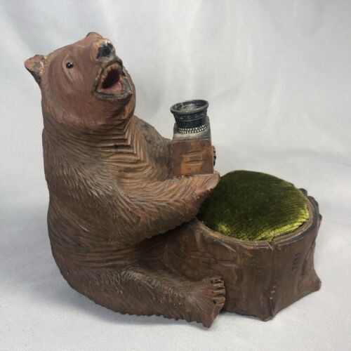 ANTIQUE Carved Wood BLACK FOREST BEAR Sewing THIMBLE HOLDER Grizzly PIN CUSHION